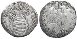 World Coins - Papal States. ANCONA. Paul IV (1555-1559). Giulio. Rare. VF\XF