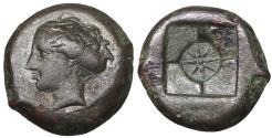 Ancient Coins - SICILY. Syracuse Second Democracy. 466-405 BC. AE hemilitron  Dark brown patina. UNC.