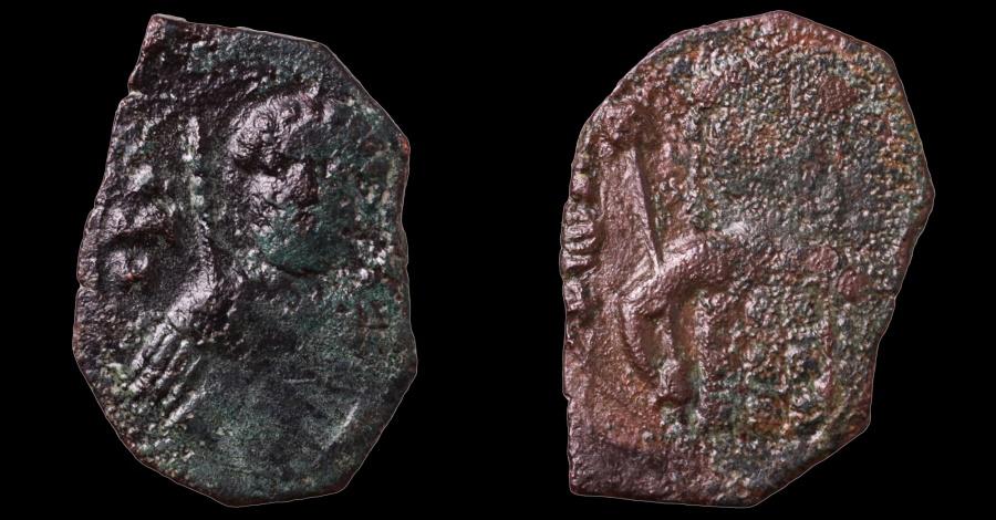 Ancient Coins - John II Comnenus. 1118-1143 AD. AE Half Tetarteron. Thessalonica mint.