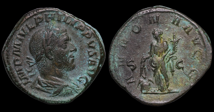 Ancient Coins - PHILIP I THE ARAB. (244–249 AD). SESTERTIUS. ROME MINT. ANNONA AVG / S - C. EF