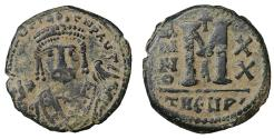Ancient Coins - Maurice Tiberius 582-602 AD AE Follis Desert Patina Scarce XF+ \ Byzantine Coins