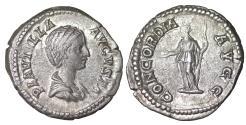 Ancient Coins - Plautilla, wife of Caracalla. Denarius. 202-205 AD. XF Toned