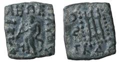 Ancient Coins - Indo-Scythians, Maues Æ Square Unit. 95/85-65/60 BC VF+
