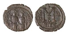 Ancient Coins - Justin II Follis, struck AD 569/570. Mint of Nicomedia.