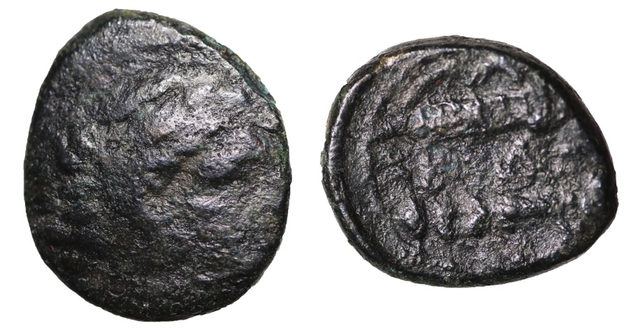 Ancient Coins - Macedonia Alexander III the Great. 336-323 BC. AE19 Herakles\ bow in case and quiver