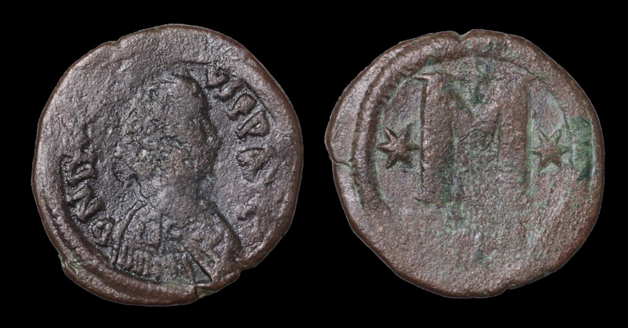 Ancient Coins - JUSTIN I. 518-527 AD. Follis. Constantinople mint. F. Brown patina