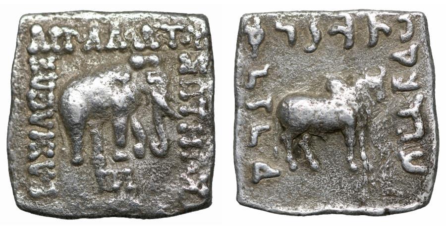 Ancient Coins - Greco-Baktrian Kingdom Apollodotos I AR Square Drachm 174-160 BC aXF