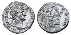Ancient Coins -  Hadrian AR Denarius - Pax seated, holding Victory. RIC 95