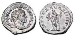Ancient Coins - Caracalla AR Denarius - Jupiter standing left, holding thunderbolt and sceptre. RIC 285a