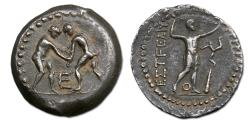 Ancient Coins - Pamphylia, Aspendos AR Stater - wrestlers grappling / slinger