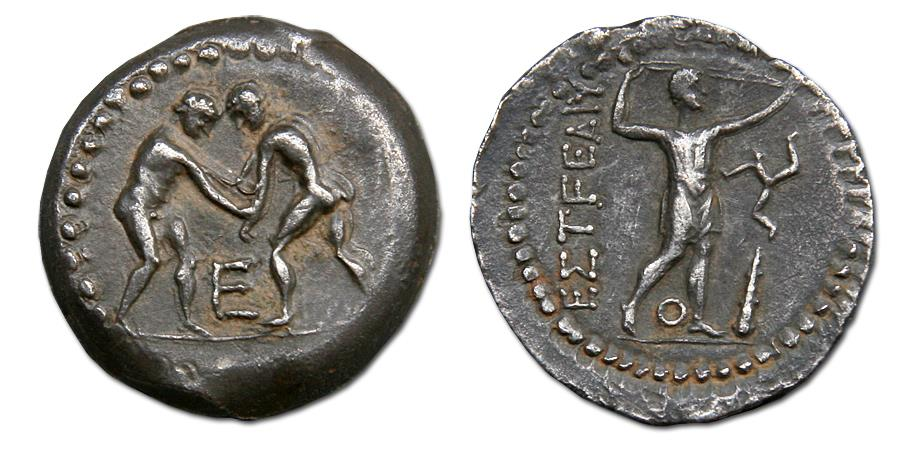 Ancient Coins - Pamphylia, Aspendos AR Stater - wrestlers grappling / slinger