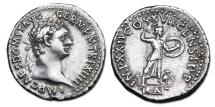 Domitian AR Denarius - Minerva standing on rostral column, owl at feet