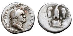Ancient Coins - Vespasian AR Denarius - Eagle standing on cippus