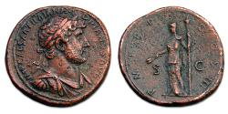 Ancient Coins - Hadrian Æ Sestertius - Ceres holding torch and grain ears. AD 120-122. RIC 610