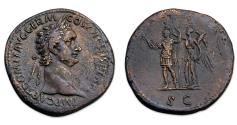 Ancient Coins - Domitian Æ Sestertius, emperor in in military attire, crowned by Victory. AD 92-94. RIC 752