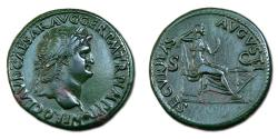 Ancient Coins - Nero Æ Dupondius - Securitas seated right on throne. RIC 445