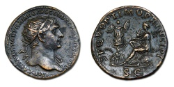 Ancient Coins - Trajan Æ Dupondius - Dacia mourning on shield and arms