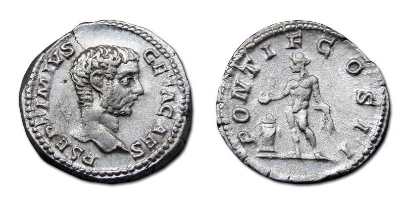 Ancient Coins - Geta AR Denarius - PONTIF COS II