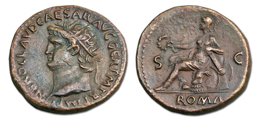 Ancient Coins - Nero Æ Dupondius. 54-68 AD.