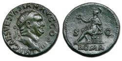 Ancient Coins - Vespasian Æ Dupondius - Roma seated on cuirass. RIC 279.
