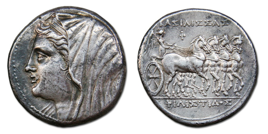 Ancient Coins - Sicily, Syracuse. Philistis, wife of Hieron II. 275-215 BC. AR 16 Litrai – Tetradrachm