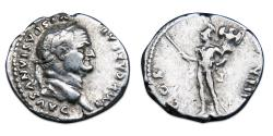 Ancient Coins - Vespasian AR Denarius - Mars standing left, holding spear and trophy. RIC 937
