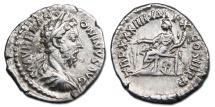 Marcus Aurelius AR Denarius - Fortuna seated, holding rudder and cornucopiae. RIC 409.