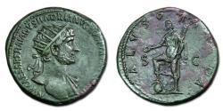 Ancient Coins - Hadrian Æ Dupondius - Salus standing with foot on globe. RIC 604a