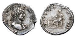 Ancient Coins -  Hadrian AR Denarius - Salus holding patera over altar