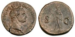 Ancient Coins - Domitian As Caesar, AD 69-81. Æ Sestertius - Spes standing left, holding flower