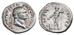 Ancient Coins - Titus, as Caesar, AR Denarius - IOVIS CVSTOS, Jupiter sacrificing over lit altat