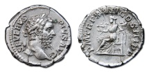 Ancient Coins - Septimus Severus AR Denarius. 209 AD - Salus Seated Left, Feeding Snake