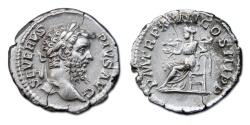 Ancient Coins - Septimius Severus AR Denarius. 209 AD - Salus Seated Left, Feeding Snake