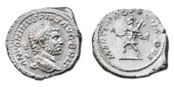 Ancient Coins - Caracalla AR Denarius - MARTI PROPVGNATORI, Mars walking left, holding spear and trophy