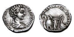 Ancient Coins - Caracalla AR Denarius - DESTINATO IMPERAT, lituus, helmet, bucranium and simpulum. RIC 6
