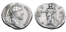 Ancient Coins - Antoninus Pius AR Denarius - Concordia Holding Patera and Scepter