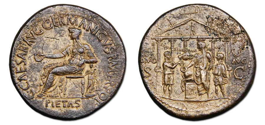Ancient Coins - Gaius (Caligula) Æ Sestertius - Caligula sacrificing before hexastyle temple. Rare.