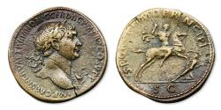 Ancient Coins - Trajan Sestertius - Trajan on horseback, thrusting spear at Dacian soldier. RIC 534