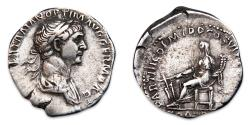 Ancient Coins - Trajan AR Denarius - Fortuna seated left, holding rudder and cornucopiae. RIC 315.