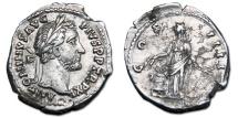 Antoninus Pius AR Denarius - Annona, standing by modius. RIC 162.