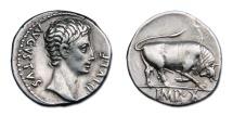 Ancient Coins - Augustus AR Denarius - Bull Butting Right