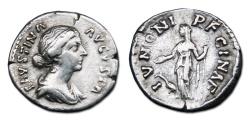 Ancient Coins - Faustina II AR Denarius -  IVNONI REGINAE, Juno with peacock