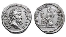 Ancient Coins - Septimius Severus AR Denarius - RESTITVTOR VRBIS