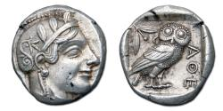 Ancient Coins - Attica, Athens AR Tetradrachm - Helmeted Athena/Owl standing with olive sprig and crescent behind