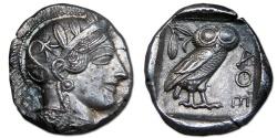 Ancient Coins - Attica, Athens AR Tetradrachm - Full Helmet Crest