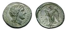 Ancient Coins -  Sicily, Syracuse. Hiketas II. 287-278 BC. Æ Litra - Eagle standing on thunderbolt