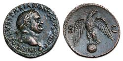 Ancient Coins - Vespasian Æ As - Eagle standing facing on globe;  RIC 1237
