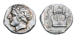 Ancient Coins - MACEDON, OLYNTHOS. CHALKIDIAN LEAGUE AR TETRADRACHM. 420-415 BC