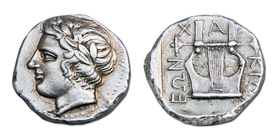 Ancient Coins - MACEDON, OLYNTHOS. CHALKIDIAN LEAGUE AR TETRADRACHM. 420-415 BC