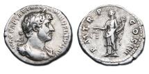 Hadrian AR Denarius - Aequitas standing left with scales & cornucopiae. RIC 80.